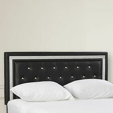 Full Faux Leather Upholstered Headboard Button Tufted Black Modern Bedroom New