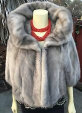 Lovely Real Sapphire Gray Blue Iris Silver Vintage Mink Fur Stole Shawl Bridal