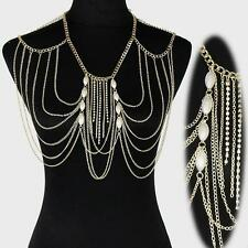 Necklace Shoulder Fringe Multi-Strand Body Chain Butterfly Pearl Style