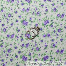BonEful FABRIC FQ Cotton Quilt White Purple Light Small Rose Flower Shabby Chic