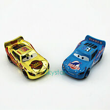 Set Of 2 1:55 Disney Pixar Gold C1 Metallic&Dinoco Lightning McQUEEN Car
