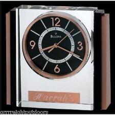 Bulova Affinity Table Clock Black Crystal Case Rose Gold Tabletop Silver Metal
