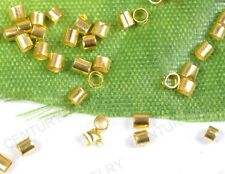 NP2082 1000Pcs Gold-Plated Tube Crimp End Spacer Bead 2X1MM