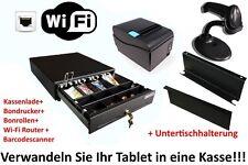 Kassen-Set Kassenlade Untertischhalterug Barcodescanner LAN Bondrucker Router