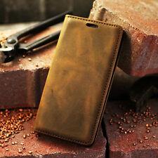 Für Samsung Galaxy S7 EDGE Leder Echtleder Handy Hülle Etui Flip Case + Folien