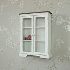 White painted shabby chic wooden wall hanging glazed display cabinet shelves