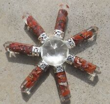 Quartz pyramid with 7 orgone red jasper crystal points ~ energy generator