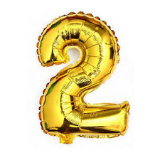 """40"""" Metallic Gold Glossy Two Year Old Birthday Party Number 2 Float Balloon USA"""