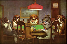 Dogs  Poker Friend in Need Collie Bull Dog 12x18 Art Repro Print FREE S/H in USA