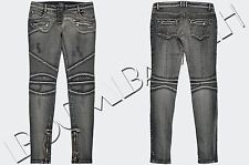 BALMAIN 2500$ Authentic New Skinny Gray Stretch Cotton Denim Biker Jeans sz 42
