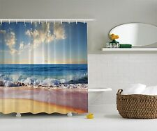Blue Ocean Big Sky Tropical Beach Fabric Shower Curtain
