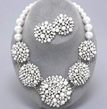 White Pearl Crystal Chunky Bridal Audrey Hepburn Style Icon Statement Necklace