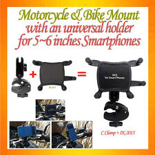 C-shape C Clamp Mount Motorcycle Mount+Universal Holder for 5~6 inch smartphones