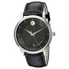 Movado 0606873 Men's Automatic Black Dial Black Leather Band Watch