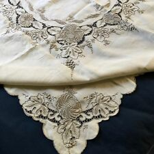 Vintage Richelieu  cutwork embroidered square tablecloth unusually good design