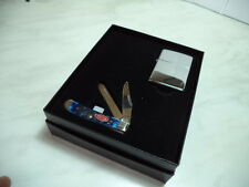 ZIPPO ACCENDINO LIGHTER CHROME & KNIFE CASE SET NEW IDEA REGALO