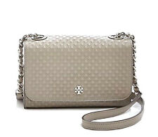 "TORY BURCH MARION EMBOSSED LEATHER CROSSBODY SHOULDER BAG ""FRENCH GRAY"" ~ NWT!"