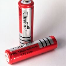 4 x ultra Fire BRC 4200 mAh de iones de litio Batería 3,7 V 18650 Li-ion 65 x 18 mm