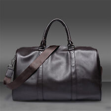Men Leather large vintage Coffee travel gym weekend overnight bag Handbag