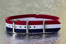 16mm [ Blue/White/Red ] Nylon Military Watch Band Strap - French Edition