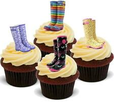 NOVELTY WELLY MIX 12 STANDUPS Edible Cake Toppers Birthday Wellington Boots