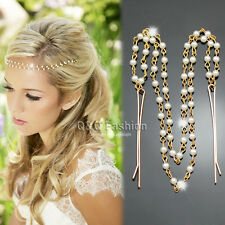 Downton Gold Double Layer Pearl Chain Forehead Hair Clip Crown Head Dress Band