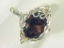 BUTW Sterling Silver Wire Wrapped Smokey Quartz Crystal (Size 7) Ring 0014E tle