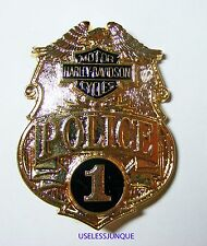 HARLEY-DAVIDSON MOTORCYCLE #1 GOLD PLATED POLICE BADGE FULL SIZE