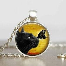 DIY Vintage cat Cabochon Tibetan silver Chain Glass Pendant Necklace F5