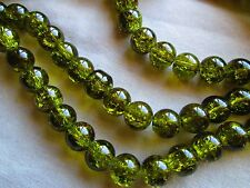 CRYSTAL GLASS BEADS, ROUND, 8 MM, CRACKLE STYLE OLIVE GREEN 80 CHARMS, SPACERS
