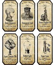 Halloween steampunk assorted bottle label stickers set of 6 glossy paper