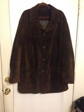 Roundtree & Yorke 2XLT Genuine Suede Leather Lined Jacket Long Chocolate Brown