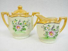 Vintage Hand Painted Lusterware Childs Toy Dish Tea Set Sugar and Cream Pitcher