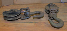2 used logging snatch block crane hook rigging recovery sheave pulley vintage