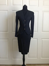 Vintage Gianni Versace Skirt Suit**Black Linen**SZ 4**Made in Italy**