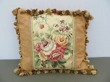 "Fancy Hand Made Pillow Floral Beige Satin Fabric Backing Zipper 18"" X 18"""