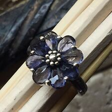Estate Natural 6ct Iolite 925 Solid Sterling Silver Solitaire Flower Ring sz 6