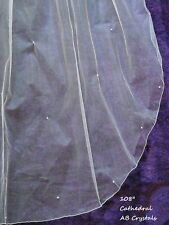 "Brides Ivory 30"" / 108"" 2T cathedral length wedding veil scattered AB crystals"