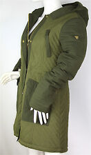 GUESS Olive Green Quilted Hooded Zip Parka Jacket, Satin Lining, Size Medium