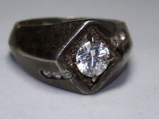 STERLING SILVER 925 VINTAGE ESTATE MENS ROUND CUBIC ZIRCONIA RING SIZE 11.25