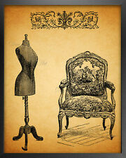"Vintage style fashion Sewing wall art print 8x10"" home room decor"