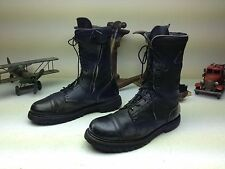 CLASSIC ROCKY BLACK LEATHER DISTRESSED LACE/ZIP UP MILITARY PARATROOPER BOOTS 13
