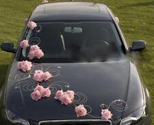 wedding car decoration, ribbon, bows, prom limo decoration ,greta light pink