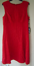 NWT ADRIANNA PAPELL RED EMPIRE WAIST LINED DRESS SIZE 14 $140