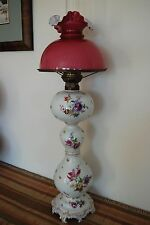 DRESDEN PORCELAIN GWTW OIL KEROSENE ANTIQUE GERMAN MEISSEN ART NOUVEAU 19C. LAMP