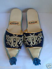 Vintage 1960's  Khussa Mojari Shoes  Leather & Embroidered Shoes Size 8