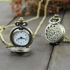 Retro New Vintage Bronze Steampunk Quartz Necklace Pendant Chain Pocket Watch LM