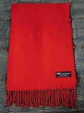 Women 100% Cashmere Scarf  RED Pure  Solid Made in Scotland SOFT Warm NEW