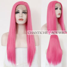 Hot Women's Synthetic Hair Lace Front Wigs Pink Long Straight Wig Heat Resistant