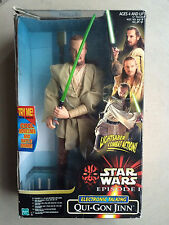 "STAR WARS Episode 1 Qui-Gon Jinn 12 "" Electronic Talking Figure Hasbro In Box"